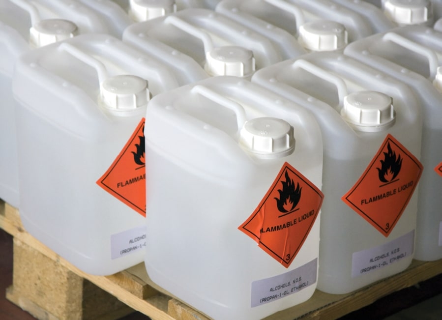 Flammable Ethanol in containers